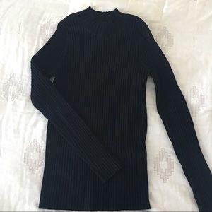 Rubbed Mockneck Black Sweater